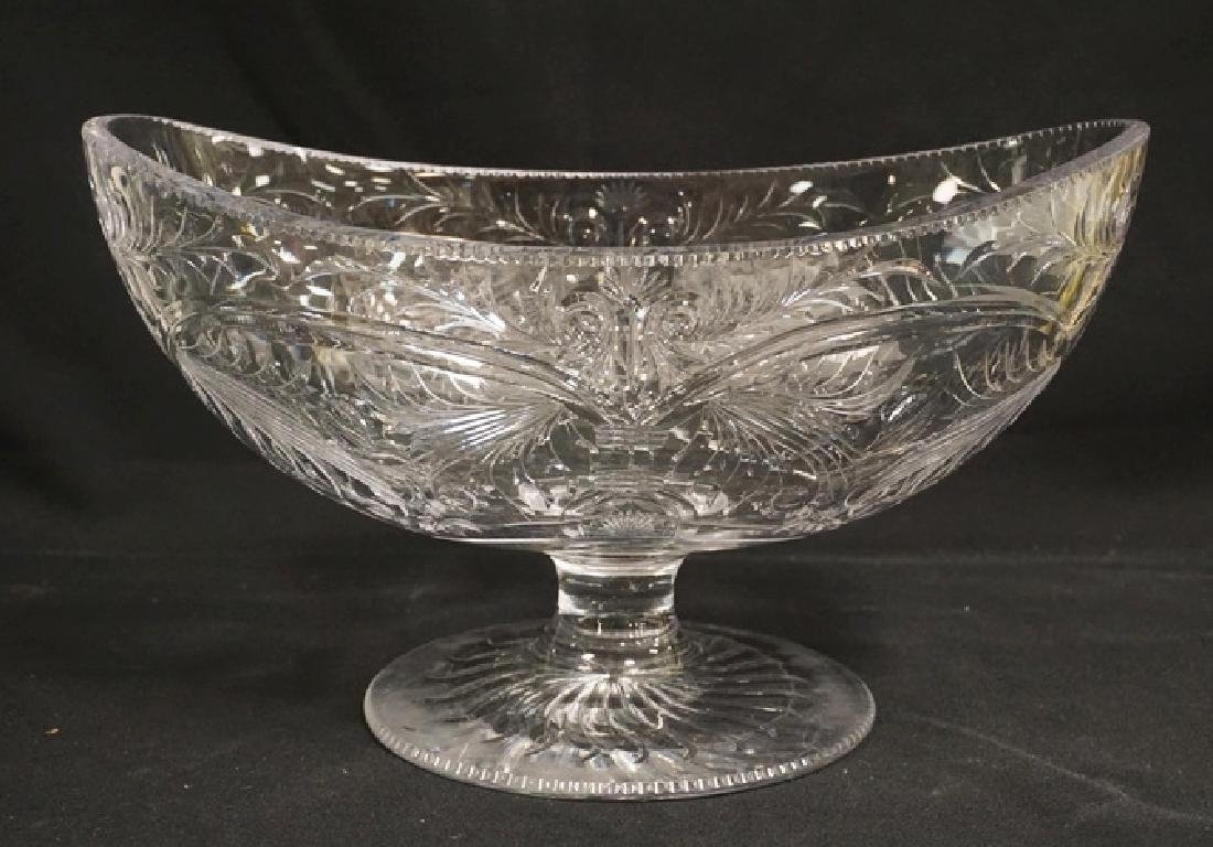 QUALITY CUT GLASS BOWL WITH A PEDESTAL FOOT. UNSIGNED,
