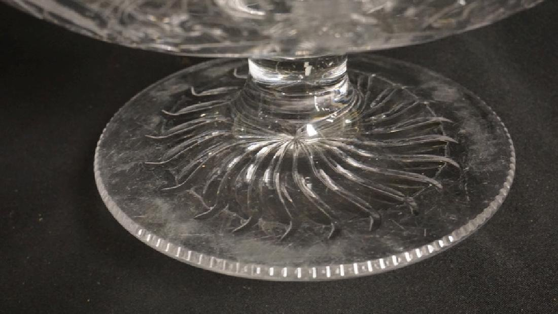 QUALITY CUT GLASS BOWL WITH A PEDESTAL FOOT. UNSIGNED, - 3