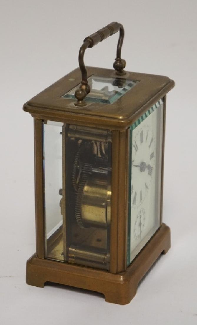 BRASS CARRIAGE CLOCK WITH BEVELED GLASS SIDES. - 2