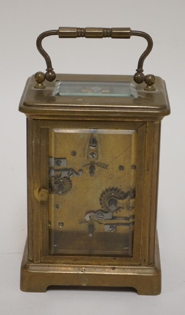 BRASS CARRIAGE CLOCK WITH BEVELED GLASS SIDES. - 3