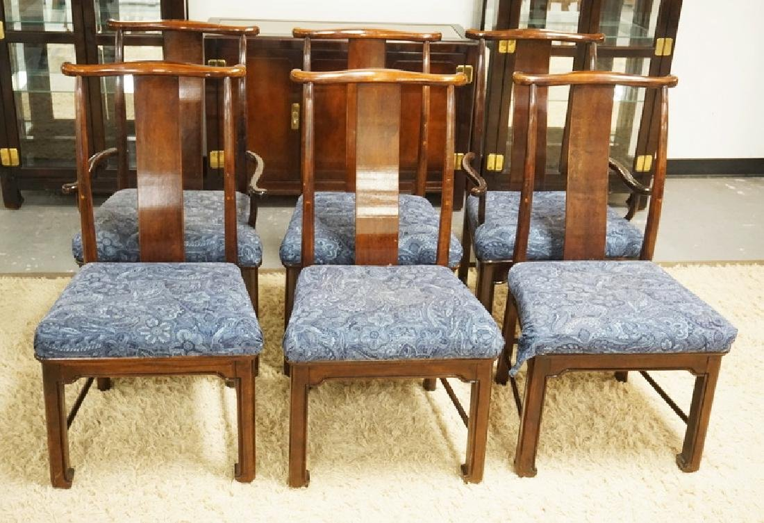 SET OF 6 MAHOGANY DINING CHAIRS. SEATS HAVE