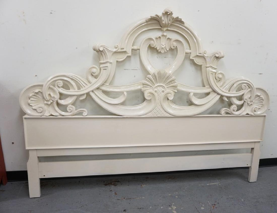 CARVED KING SIZE HEADBOARD IN WHITE PAINT.