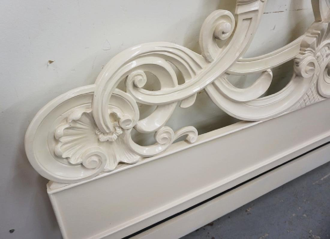 CARVED KING SIZE HEADBOARD IN WHITE PAINT. - 2