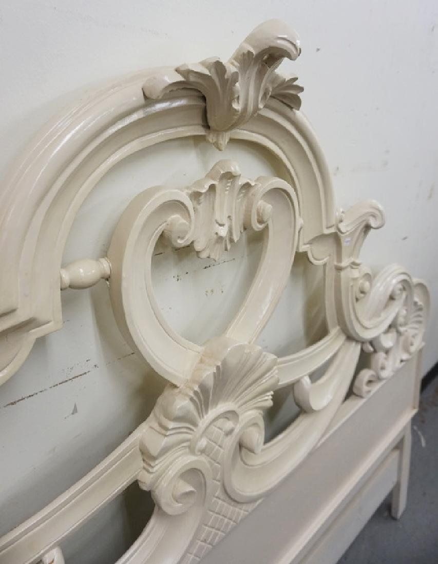 CARVED KING SIZE HEADBOARD IN WHITE PAINT. - 3