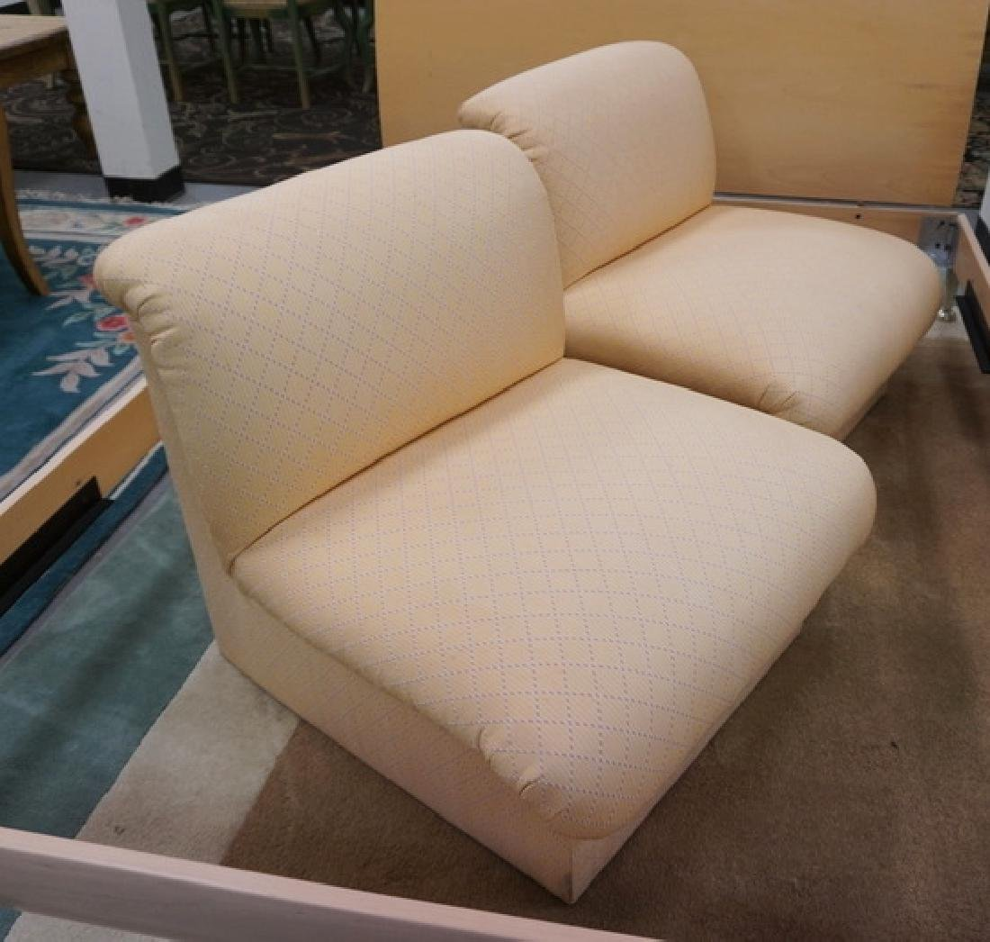 PAIR OF PEACH COLORED UPHOLSTERED BOUDOIR CHAIRS. - 2