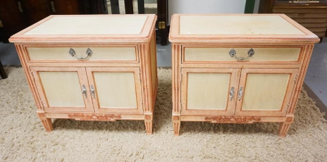 PAIR OF BAKER PAINT DECORATED NIGHTSTANDS