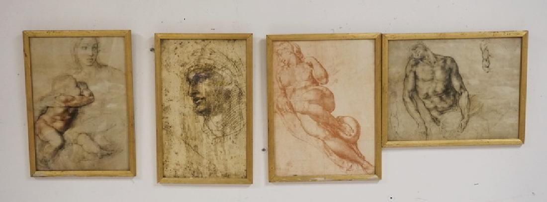 GROUP OF 4 PRINTS OF DRAWING STUDIES INCLUDING