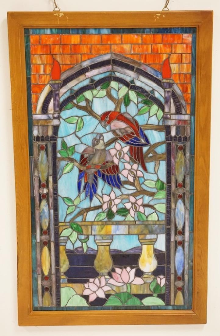 LEADED GLASS WINDOW WITH BIRDS AND FLOWERS. 22 1/2 X 37