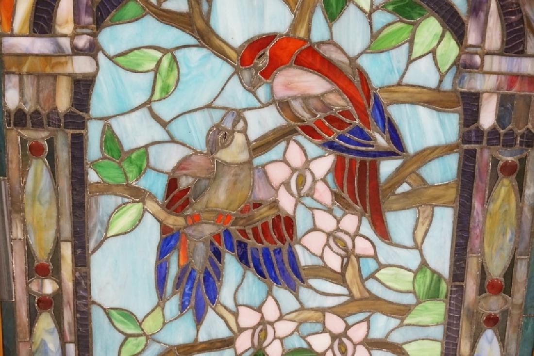 LEADED GLASS WINDOW WITH BIRDS AND FLOWERS. 22 1/2 X 37 - 2