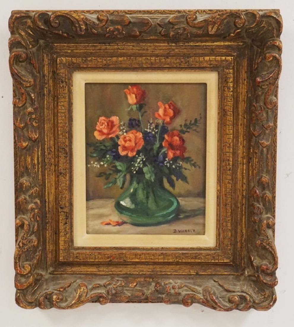 OIL PAINTING ON BOARD. STILL LIFE OF FLOWERS IN A VASE.