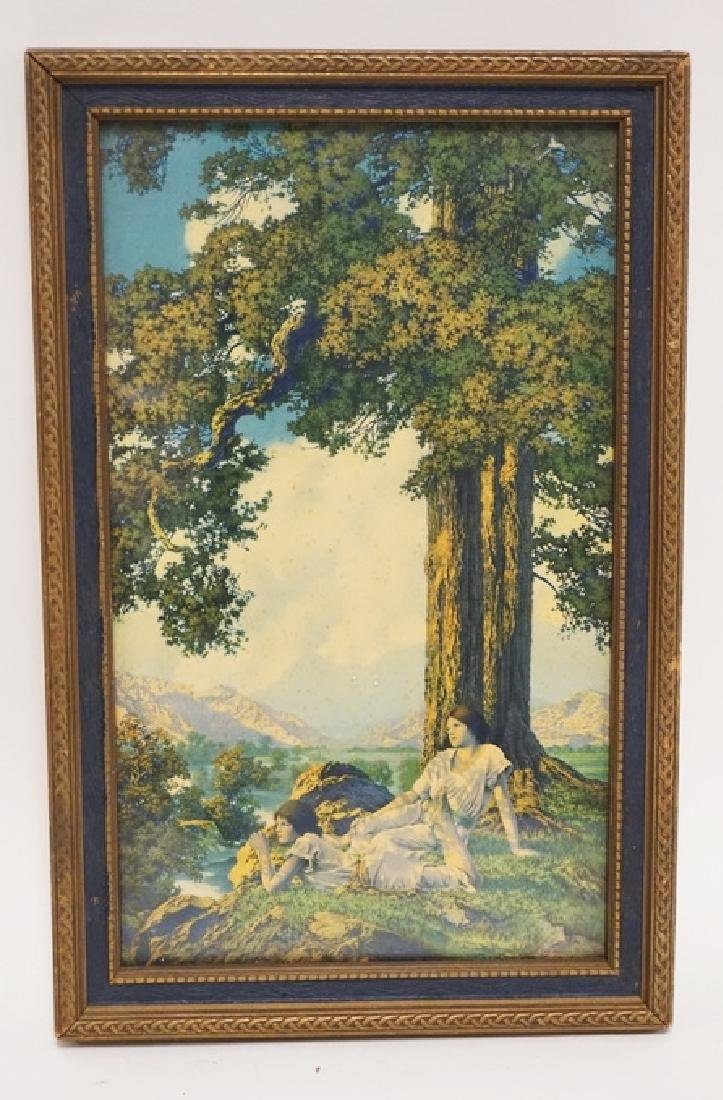 MAXFIELD PARRISH SMALL HILLTOP. ORIGINAL FRAME AND TAG.