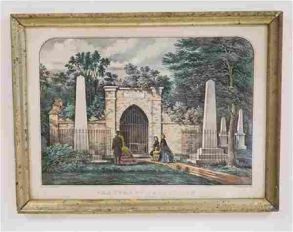 CURRIER & IVES *THE TOMB OF WASHINGTON - MOUNT VERNON