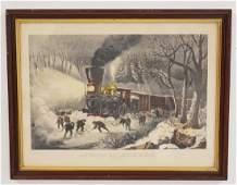 CURRIER  IVES AMERICAN RAILROAD SCENE  SNOWBOUND