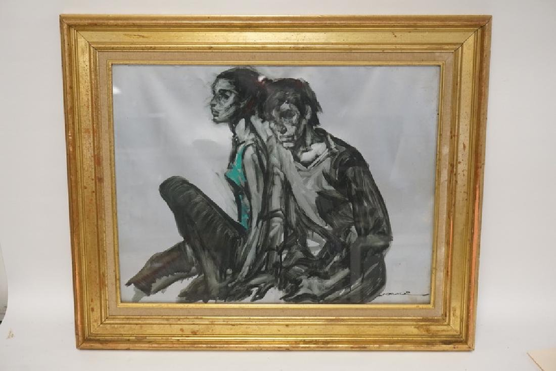 ARTIST SIGNED PAINTING OF A COUPLE. SIGNED LOWER RIGHT.
