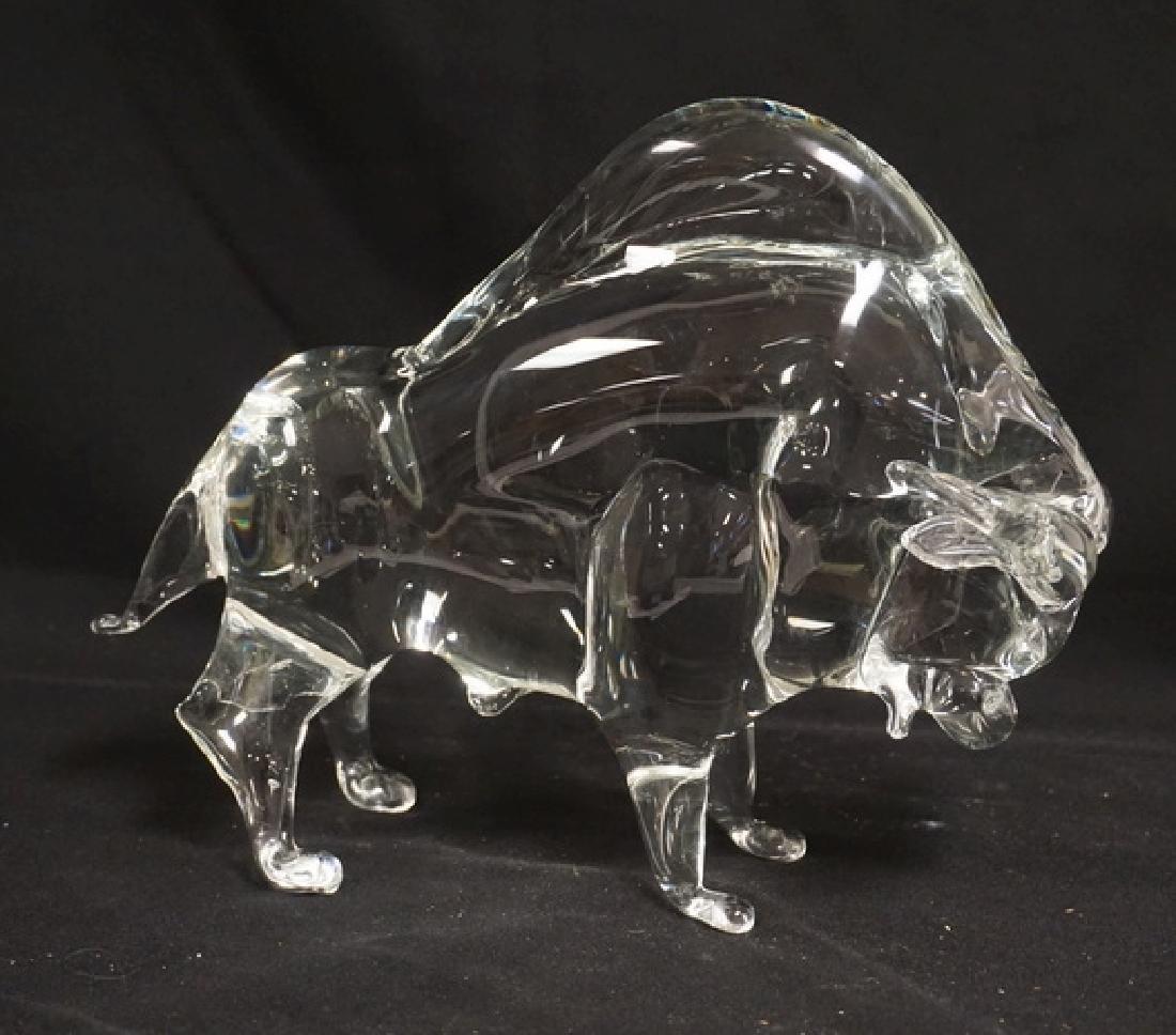 ZANETTI BLOWN ART GLASS BUFFALO MEASURING 8 3/4 INCHES
