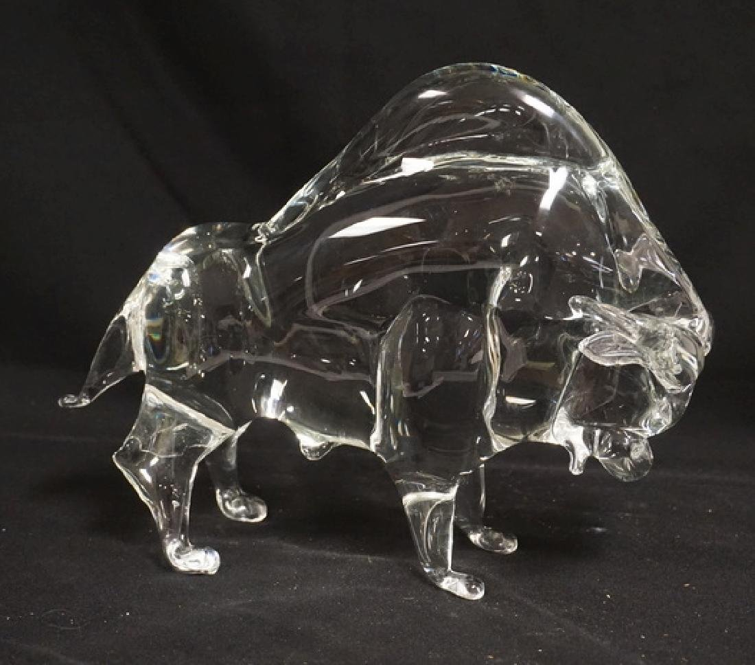 ZANETTI BLOWN ART GLASS BUFFALO MEASURING 8 3/4 INCHES