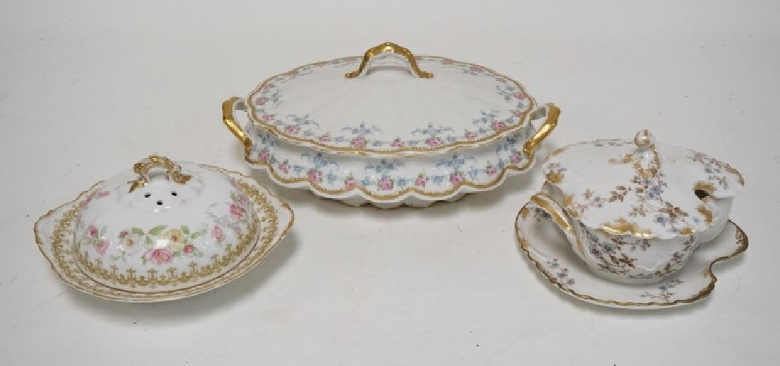 3 PIECES OF FRENCH LIMOGES PORCELAIN. COVERED BUTTER