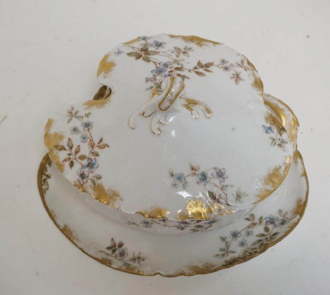 3 PIECES OF FRENCH LIMOGES PORCELAIN. COVERED BUTTER - 2