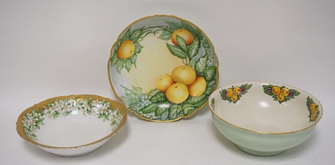 3 HAND PAINTED PORCELAIN BOWLS. 1 FRENCH AND 2