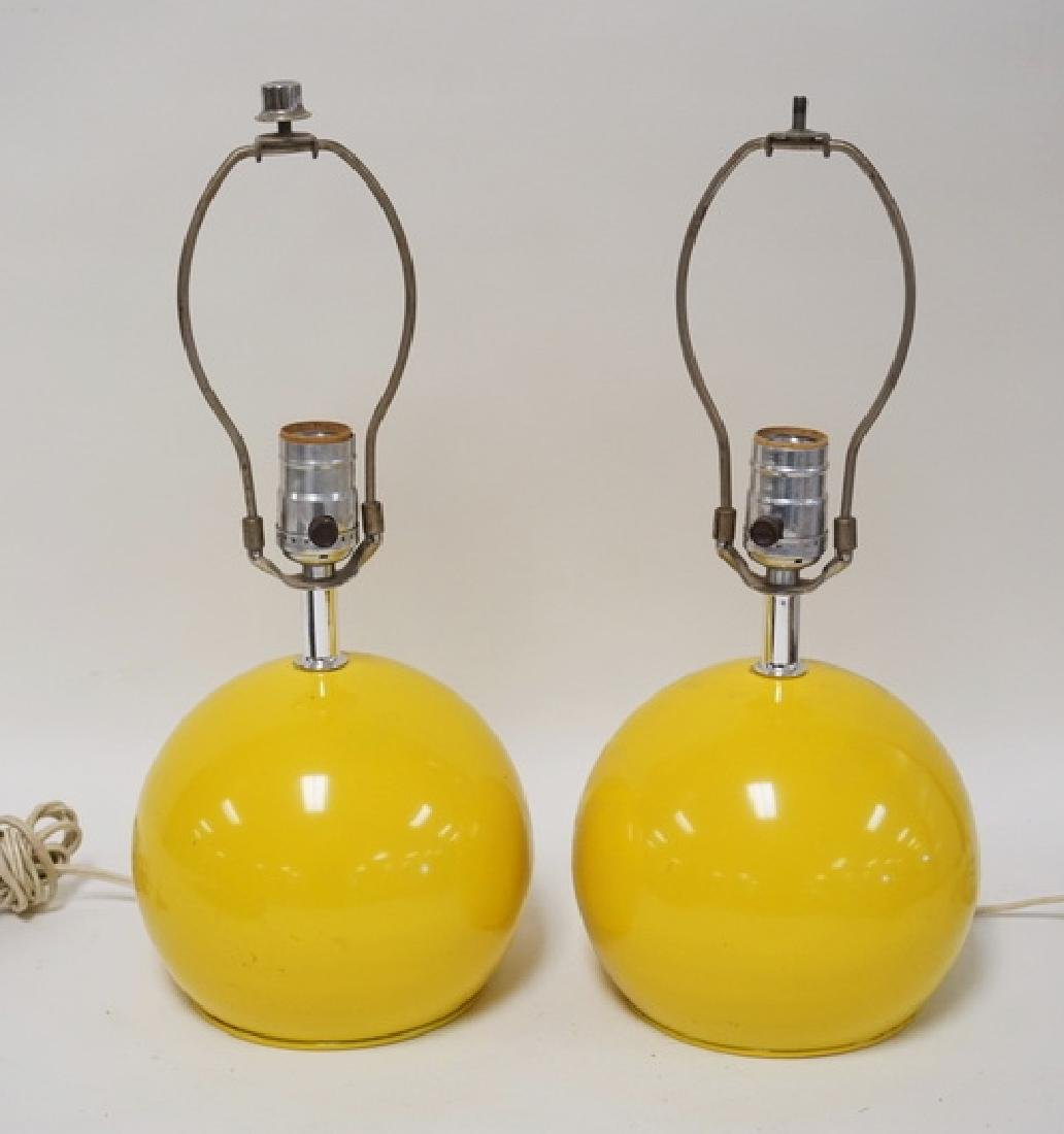 PAIR OF MID CENTURY MODERN BALL FORM METAL LAMPS IN