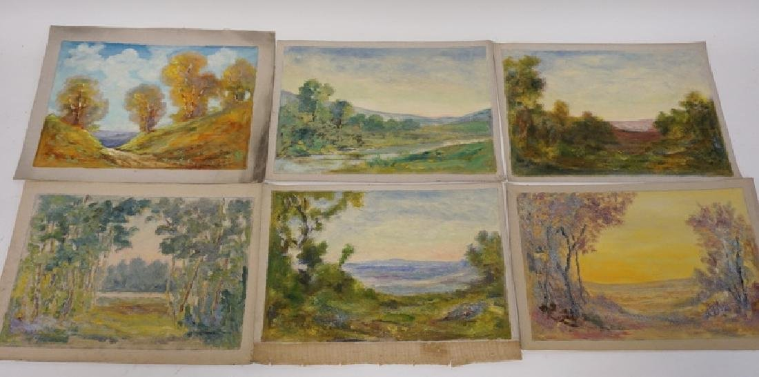 GROUP OF 6 OIL PAINTINGS ON CANVAS OF LANDSCAPES.