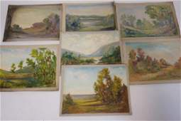 GROUP OF 7 OIL PAINTINGS ON CANVAS OF LANDSCAPES