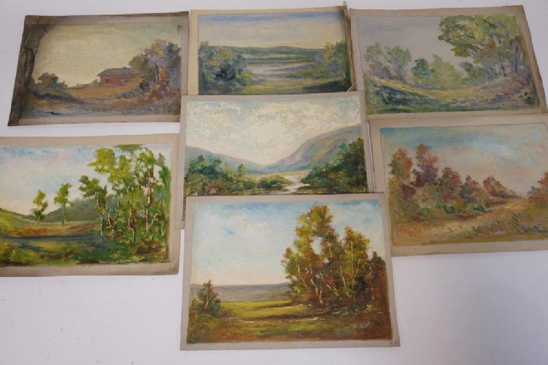 GROUP OF 7 OIL PAINTINGS ON CANVAS OF LANDSCAPES.