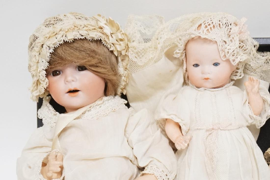 GROUP OF 3 GERMAN BISQUE HEAD DOLLS. TALLEST IS 10 1/2 - 2
