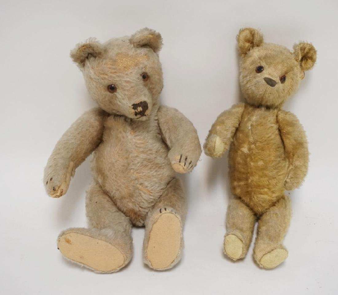 2 ANTIQUE JOINTED MOHAIR TEDDY BEARS. LIKELY STEIFF.
