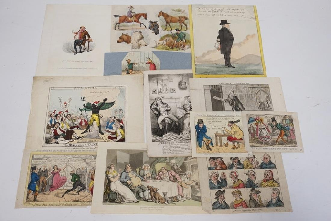 LOT OF 12 ETCHINGS INCLUDING HAND COLORED, FRENCH, AND