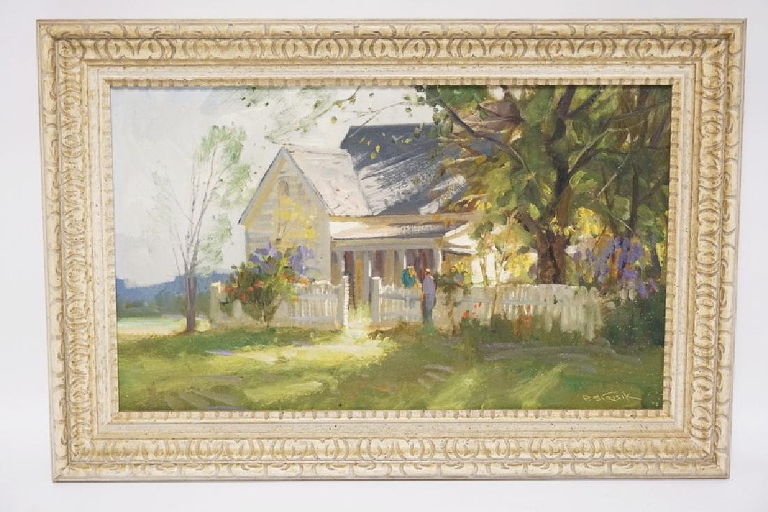 P. STRISIK OIL PAINTING ON BOARD OF A COUNTRY HOME WITH