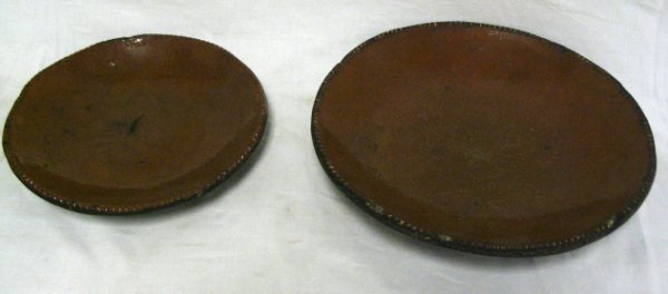 LOT OF 2 REDWARE PIE PLATES