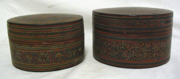 GROUP OF 2 HAND PAINTED PAPER MACHE BOXES