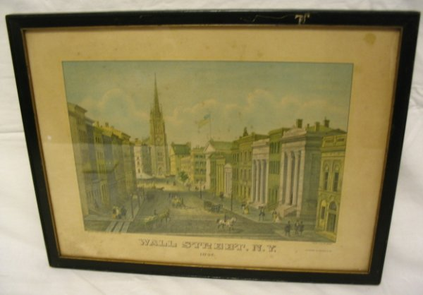 FRAMED PRINT; WALL ST, NY 1847