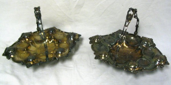 PAIR OF SILVER PLATED BASKETS, FLORAL ENGRAVING