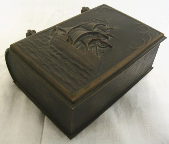 BRONZE WOOD LINED BOOK FORM BOX