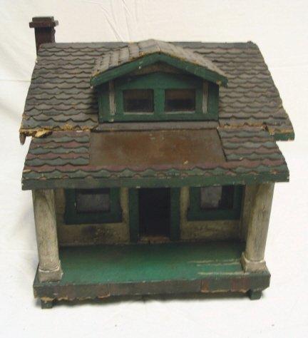 WOODEN HOUSE MODEL, HAS LIGHT INSIDE