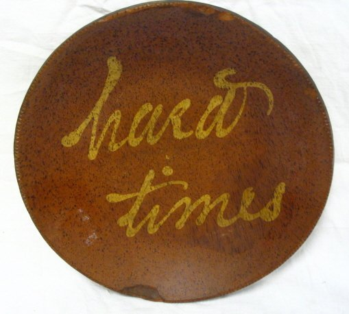 *HARD TIMES* DECORATED REDWARE PIE PLATE