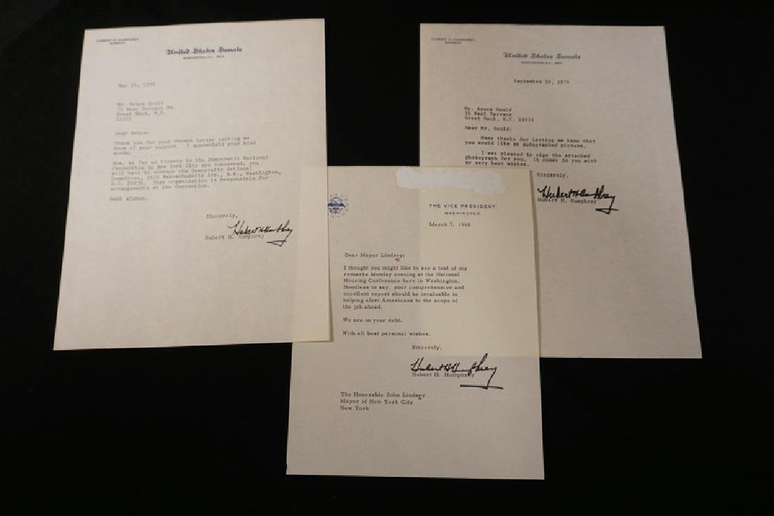 GROUP OF 3 SIGNED LETTERS BY HUBERT HUMPHREY. 2 AS A