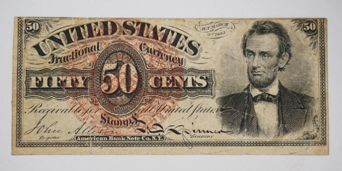 LINCOLN 50 CENT FRACTIONAL CURRENCY. 4TH ISSUE.