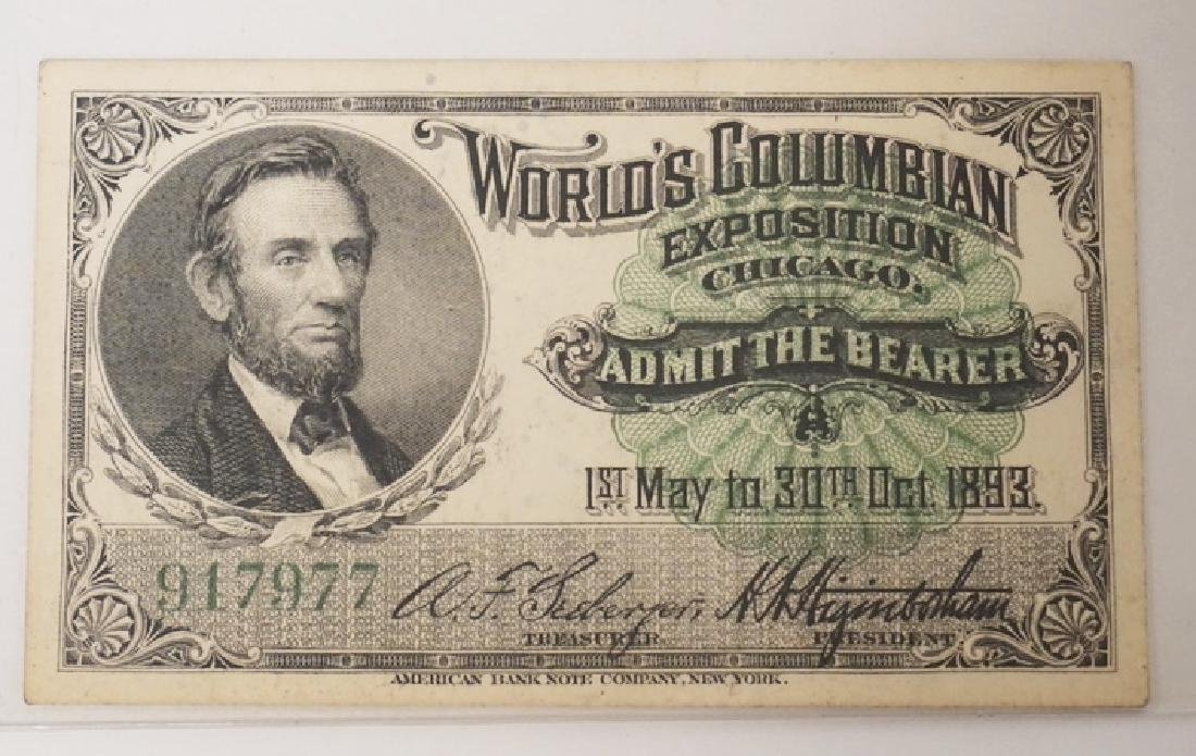 1893 CHICAGO WORLD'S COLUMBIAN EXPOSITION ADMISSION