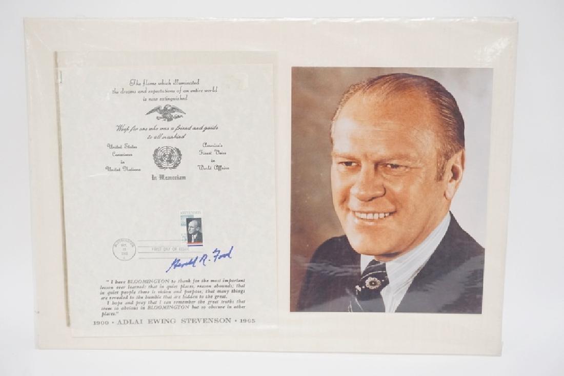 GERALD FORD SIGNED MEMORIAL PAPER COMMEMORATING ADLAI