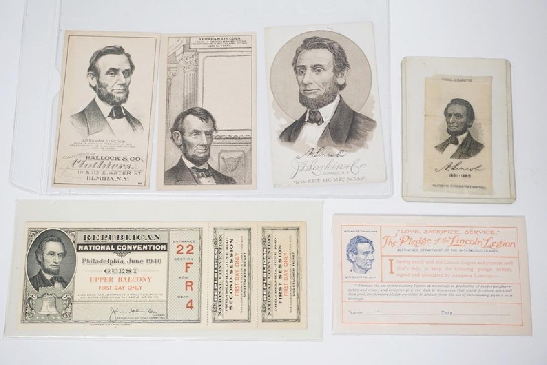 6 PIECES OF ABRAHAM LINCOLN MEMORABILIA. INCLUDES 3