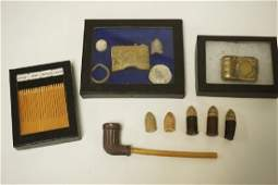 GROUPING OF CIVIL WAR ERA ARTIFACTS INCLUDES A CLAY