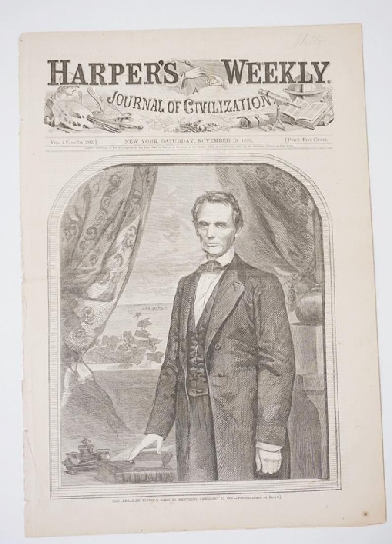 NOVEMBER 10, 1860 ISSUE OF HARPERS WEEKLY AFTER ABRAHAM