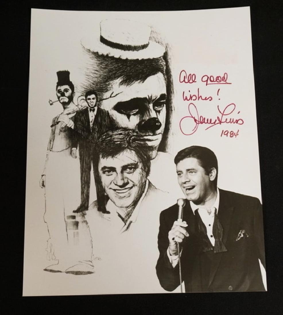JERRY LEWIS SIGNED PHOTO. 1984. 7 7/8 X 9 7/8 INCHES.