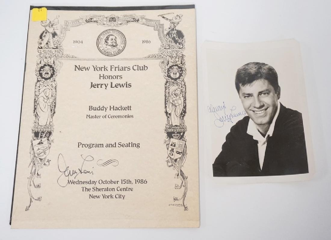 LOT OF 2 JERRY LEWIS AUTOGRAPHS. A SIGNED PHOTO AND A
