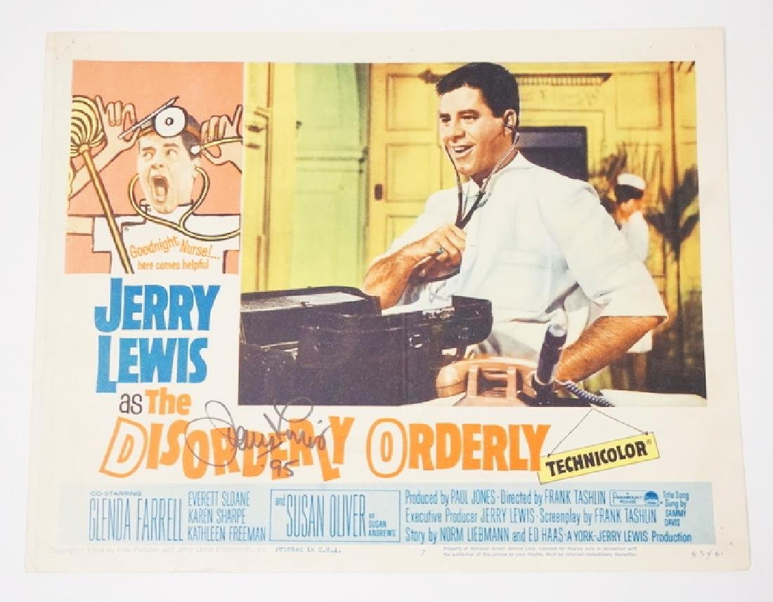 JERRY LEWIS SIGNED LOBBY CARD FOR *THE DISORDERLY