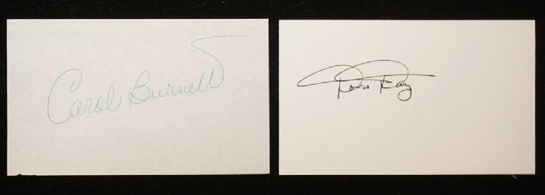 GROUPING OF 2 AUTOGRAPHS ON 3X5 CARDS. CAROL BURNETT