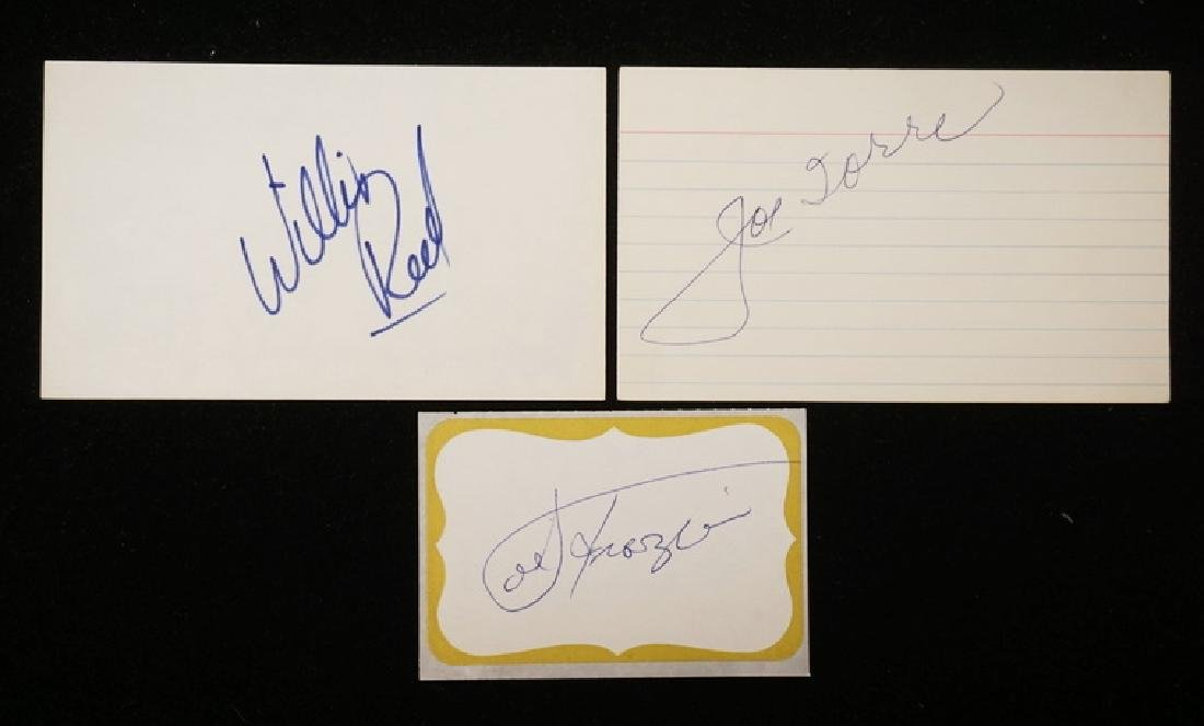 GROUPING OF 3 AUTOGRAPHS. WILLIS REED, JOE TORRE, AND